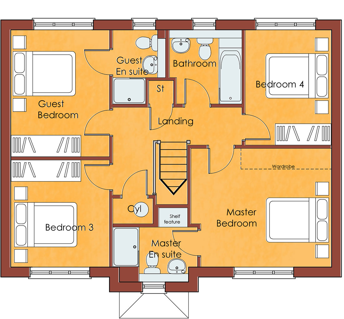 Upstairs floorplan