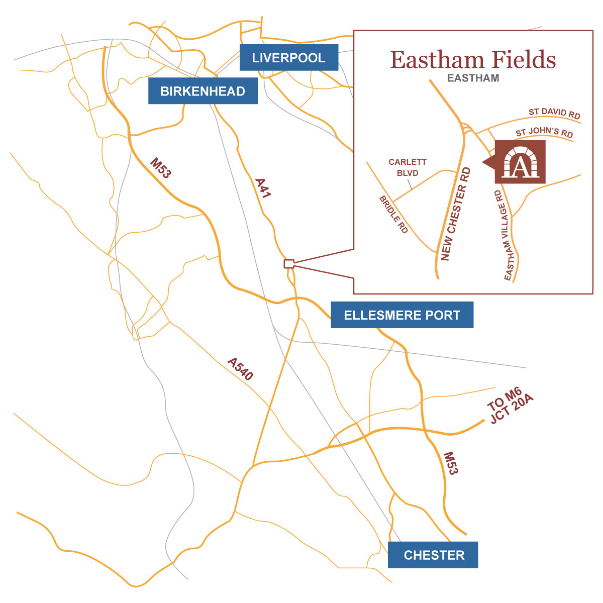 Eastham Fields location map