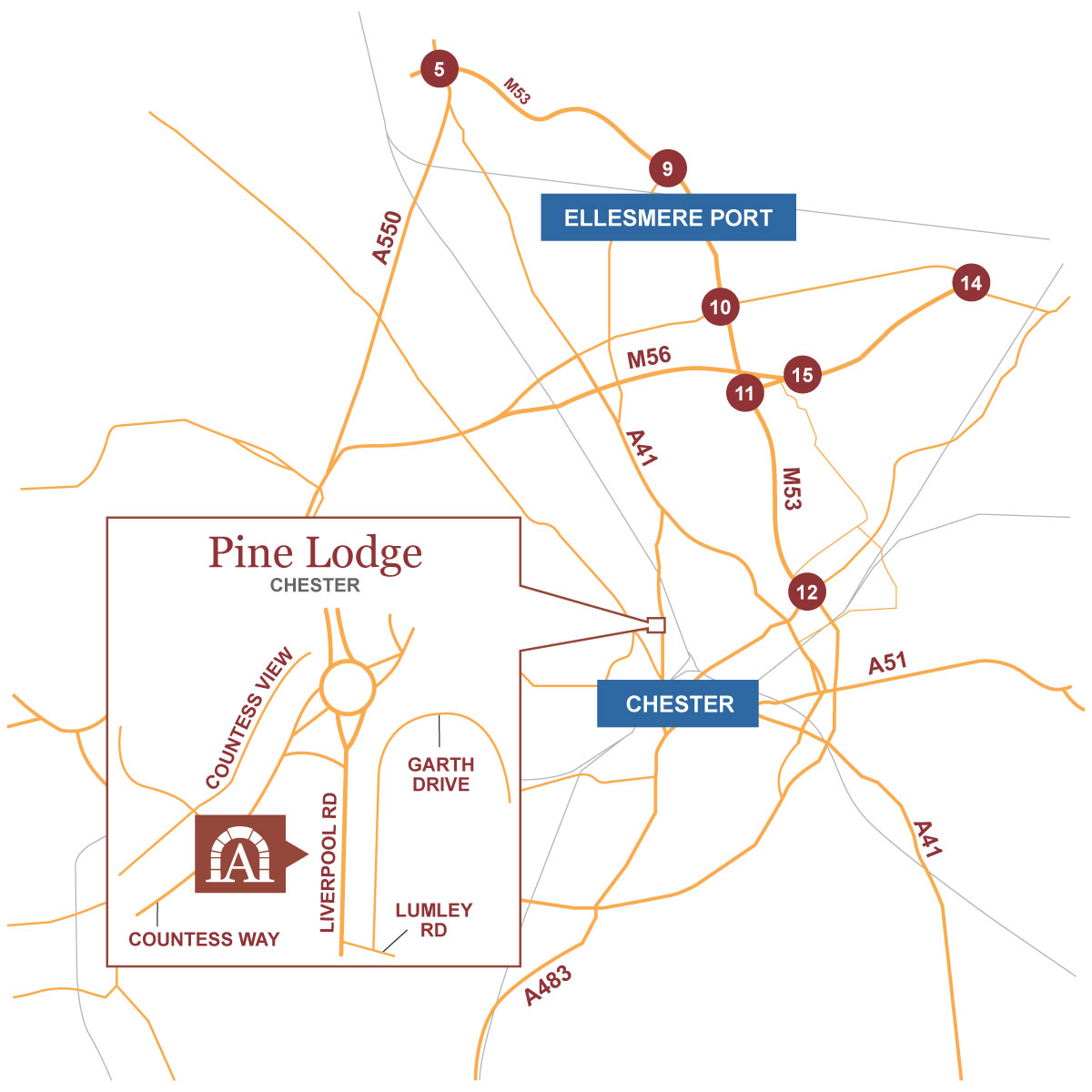 Pine Lodge location map