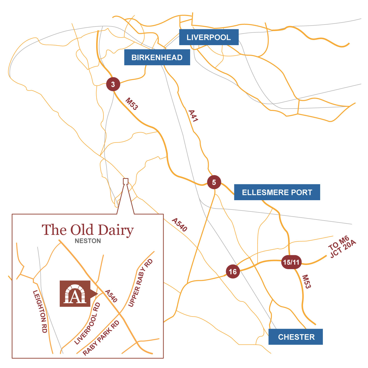 The Old Dairy location map
